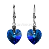 Kolczyki srebrne Swarovski Heart Bermuda Blue