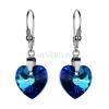 Kolczyki srebrne z kryształami Swarovskiego Heart Bermuda Blue