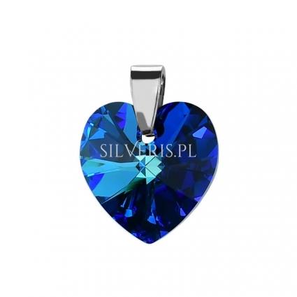 Zawieszka srebrna Swarovski Heart Bermuda Blue