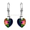 Kolczyki srebrne z kryształami Swarovski Heart Vitrail Medium