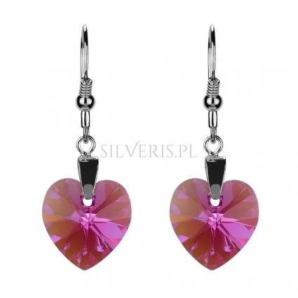 Kolczyki srebrne Swarovski Heart Rose Aurore