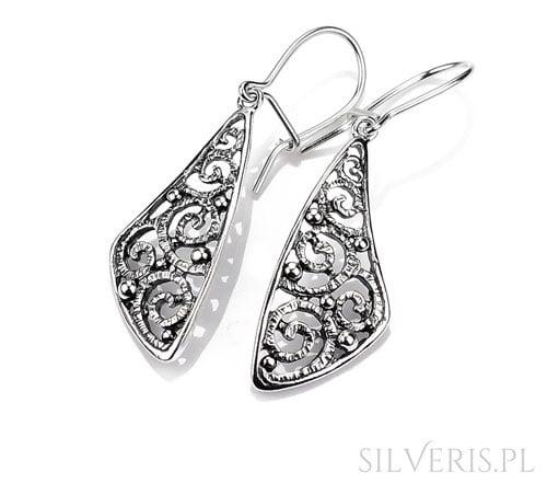 Ażurowe kolczyki srebrne