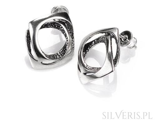 Kolczyki srebrne geometryczne