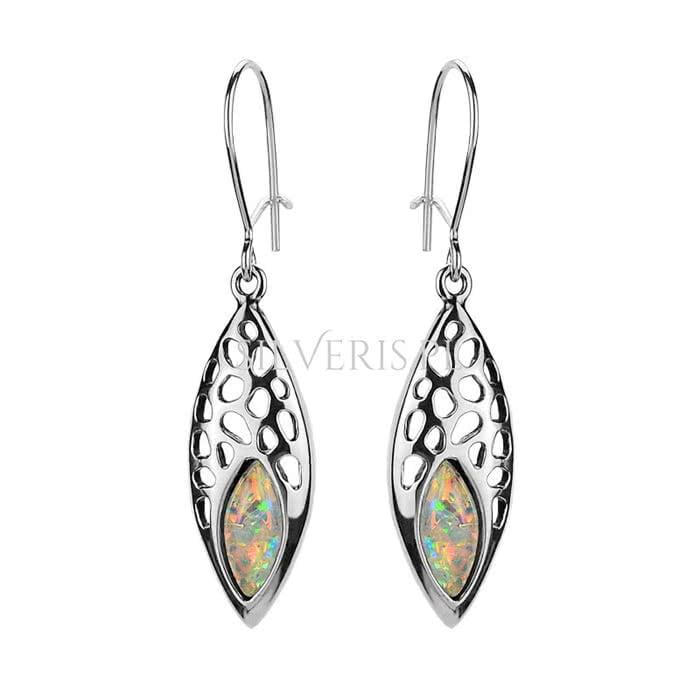 Biżuteria na Mikołajki - kolczyki srebrne Opal Biały