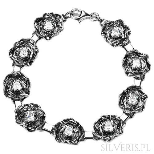 Bransoletka srebrna z cyrkoniami na Dzień Kobiet