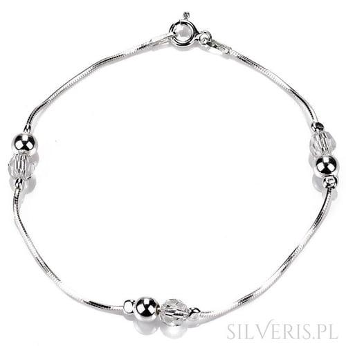 Bransoletka srebrna Koraliki - biżuteria do sukienki z odkrytymi ramionami