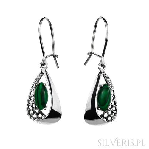 Kolczyki srebrne z Malachitem do zielonej sukienki