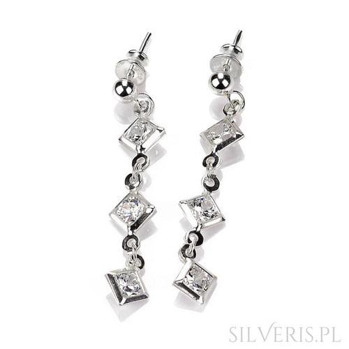 Kolczyki srebrne z Cyrkoniami wiszące
