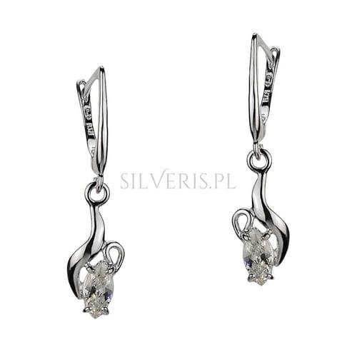 Kolczyki srebrne z cyrkoniami do sukienki cekinowej