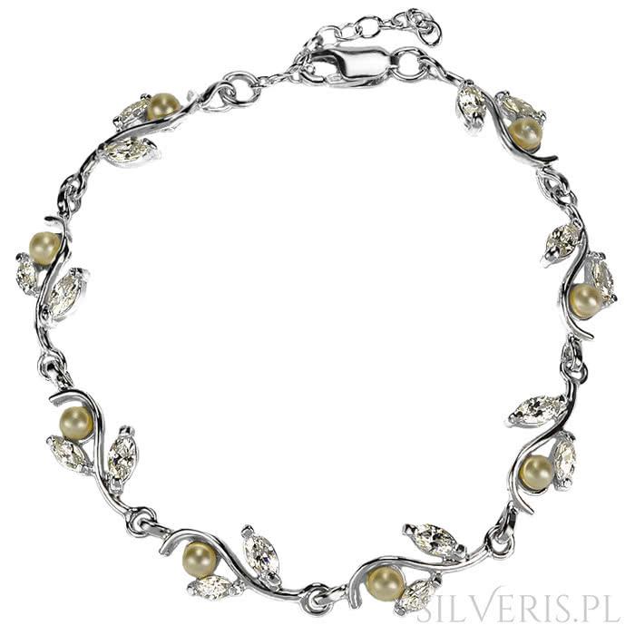 Bransoletka srebrna z Perłami na prezent mikołajkowy