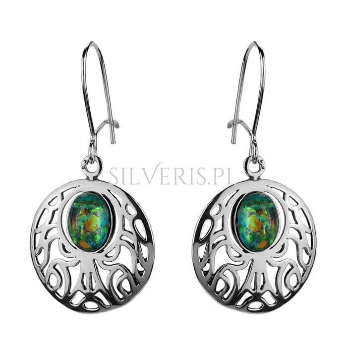 Kolczyki srebrne do pomarańczowej sukienki Opal Zielony