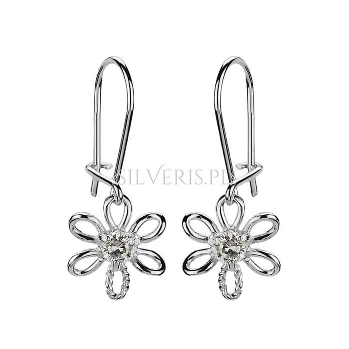 Kolczyki srebrne Kwiatki z Cyrkoniami to doskonała biżuteria na Mikołajki