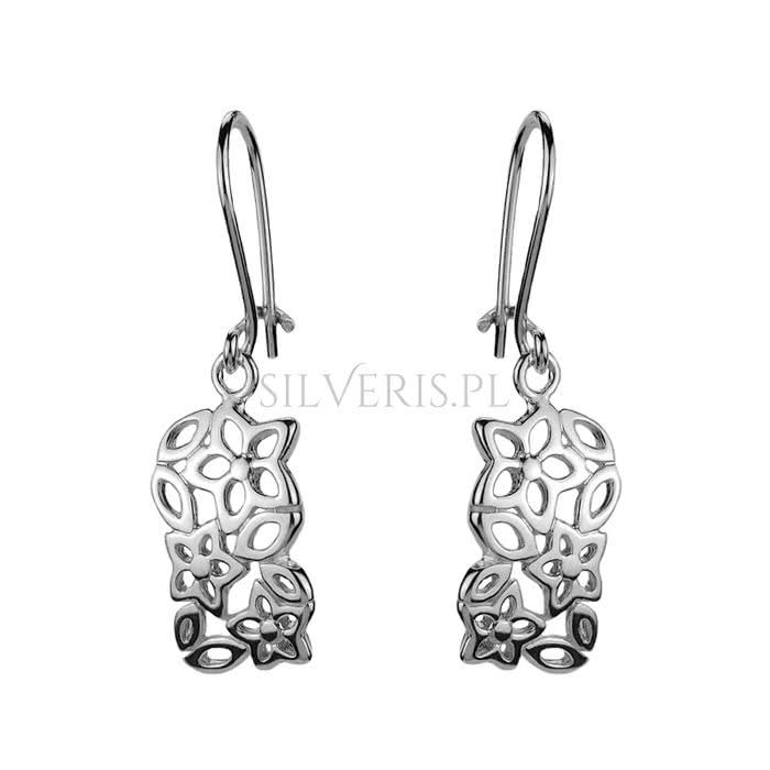 Kolczyki srebrne Kwiaty idealne do białej sukienki
