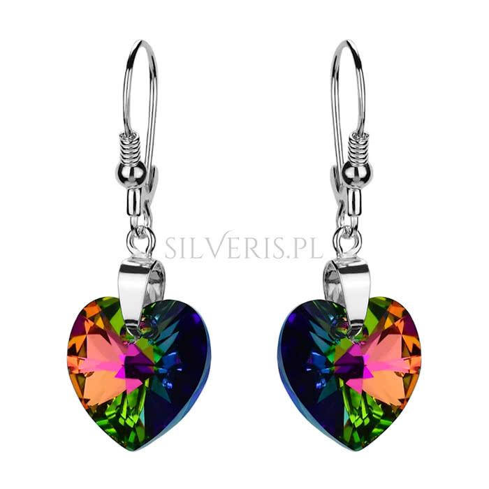 Kolczyki srebrne Swarovski Heart Vitrail Medium idealne w połączeniu z białą sukienką