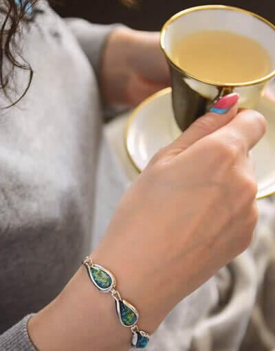 Bransoletka srebrna Opal Zielony Kropla