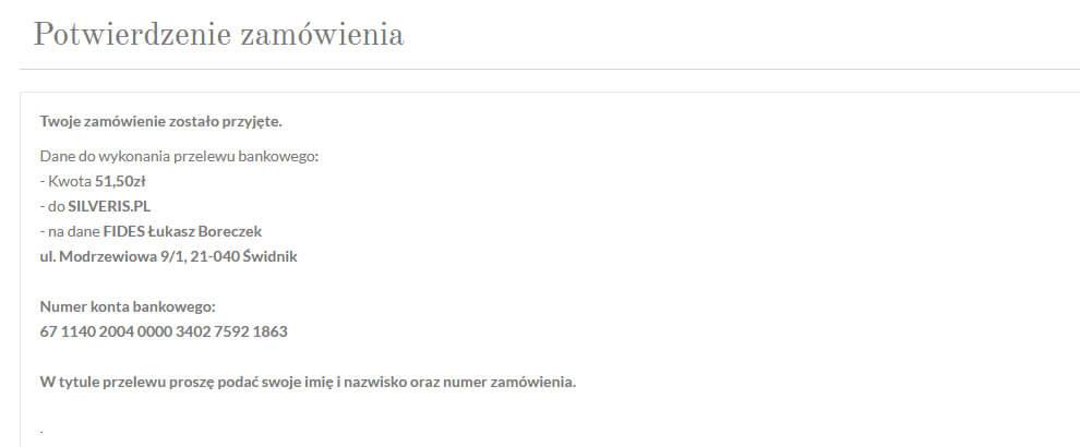 Potwierdzenie zamówienia w Silveris.pl